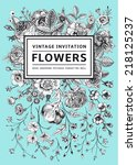 vertical invitation. vintage... | Shutterstock .eps vector #218125237