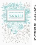 vertical invitation. vintage... | Shutterstock .eps vector #218125243