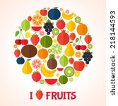 fruits background in flat style.... | Shutterstock .eps vector #218144593