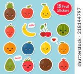 fruits cartoon stickers set.... | Shutterstock .eps vector #218144797