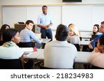 male tutor teaching university... | Shutterstock . vector #218234983