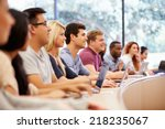 class of university students... | Shutterstock . vector #218235067