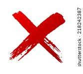 x red handwritten letters | Shutterstock .eps vector #218242387