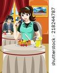 a vector illustration of woman... | Shutterstock .eps vector #218244787