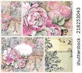 nice feminine vintage...   Shutterstock . vector #218253043