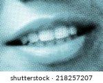 sexy smiling girl lips pop art... | Shutterstock . vector #218257207