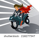 super woman driving on... | Shutterstock .eps vector #218277547