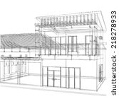 house building sketch on white... | Shutterstock . vector #218278933