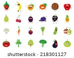 a set of fruits and vegetables... | Shutterstock .eps vector #218301127
