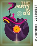 abstract party poster with... | Shutterstock .eps vector #218305897