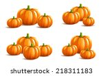 Bunch Of Pumpkins On White...