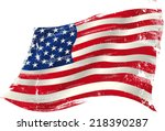 american grunge flag in the win.... | Shutterstock .eps vector #218390287