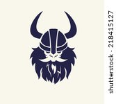 ancient viking head emblem for... | Shutterstock .eps vector #218415127