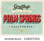 vintage touristic greeting card ... | Shutterstock . vector #218437423