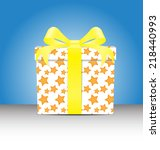 white gift box  with a yellow... | Shutterstock .eps vector #218440993