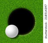 golf ball on lip of cup. vector ...   Shutterstock .eps vector #218514397