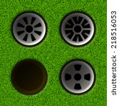 set of golf holes. vector...   Shutterstock .eps vector #218516053