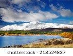 mountain landscape  lake tekapo ... | Shutterstock . vector #218524837