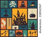 halloween card with modern flat ... | Shutterstock .eps vector #218542567