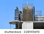 building construction site work ... | Shutterstock . vector #218545693