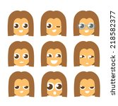 primitive cartoon flat style... | Shutterstock .eps vector #218582377