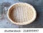 Bamboo Basket On The Wooden...