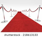 red carpet and barrier rope on... | Shutterstock . vector #218613133