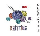 vector color knitting equipment ... | Shutterstock .eps vector #218635993