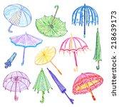 set colored sketch umbrellas. | Shutterstock .eps vector #218639173
