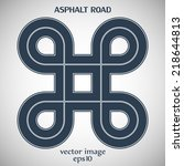 asphalt road with white solid... | Shutterstock .eps vector #218644813