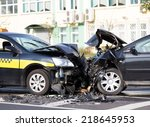 crashed cars automobile... | Shutterstock . vector #218645953