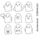 cute hand drawn ghosts  vector. | Shutterstock .eps vector #218646163