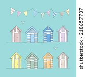 Hand Drawn Beach Huts   Bunting