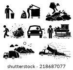 rubbish trash garbage waste... | Shutterstock . vector #218687077