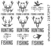 set of vintage hunting and... | Shutterstock .eps vector #218729917