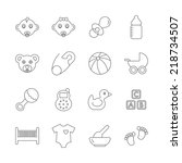 baby line icons. editable   Shutterstock . vector #218734507