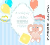 blue baby frame with elephant ...   Shutterstock . vector #218739427