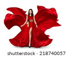 sexy young motion woman in long ... | Shutterstock . vector #218740057