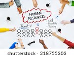hands on whiteboard with human... | Shutterstock . vector #218755303