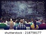 multiethnic group of people... | Shutterstock . vector #218758177