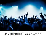 silhouettes of concert crowd in ... | Shutterstock . vector #218767447