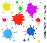 vector set of colored blots on... | Shutterstock .eps vector #218769487