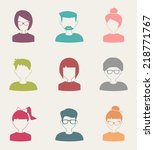 trendy flat people icons set 4 | Shutterstock .eps vector #218771767