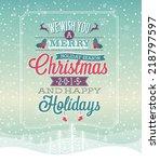 christmas vintage poster.... | Shutterstock .eps vector #218797597