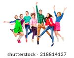 large group of cheerful young... | Shutterstock . vector #218814127