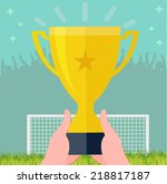 golden cup on the stadium  ... | Shutterstock .eps vector #218817187