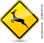Vector Illustration Of Deer...
