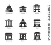 government building icons | Shutterstock . vector #218823817