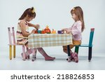 two 5 years old kids playing... | Shutterstock . vector #218826853