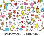 kid's drawing style seamless... | Shutterstock .eps vector #218827363